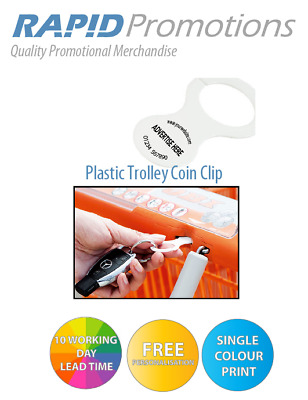 50/100/250/500 Printed Promo Budget Trolley Coin Clip With Your Logo! Uk Seller