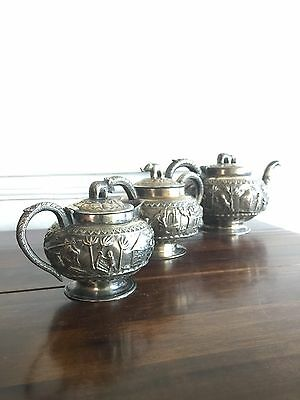 Antique Indian Burmese Solid Silver Tea Set Teapot Suger Bowl Jug Ellephant Lids