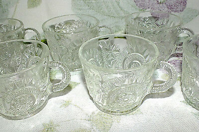 Smith Glass Pinwheels & Stars Punch Cups Set Of 6  Exc