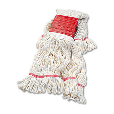 Super Loop Wet Mop Head, Cotton/synthetic, Large Size, White, 12/carton