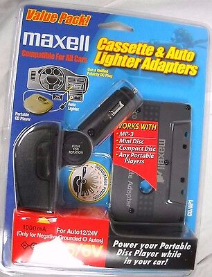 maxell MP3/CD player car charger & cassette adapter