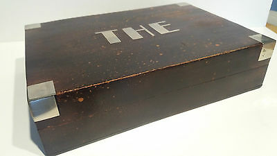 """Vintage Wooden French Tea Caddy with Silver Metal Inlay """"THÉ"""" Internal Dividers"""
