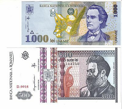 Romania 500 and 1000 Lei - P101 and P106 - Uncirculated