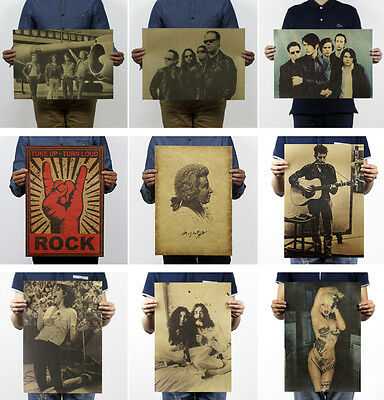 Vintage Retro Rock Band Poster Kraft Paper Antique Music Poster Bar Wall Decor