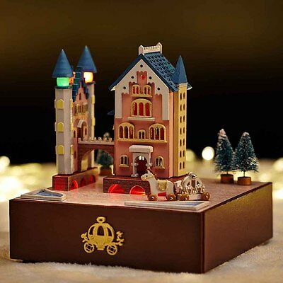 DIY Wooden Miniature Dollhouse Kit Rotating Castle Wagon Music Box X'mas Gifts