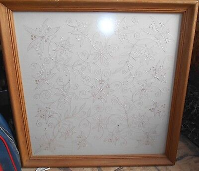 Antique 1906 Framed Wedding White Shadow Work Needlepoint Pillow Cover