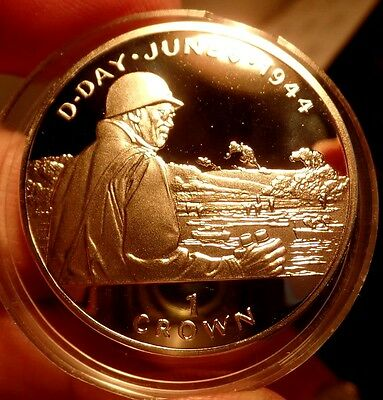 D Day 50th Anniversary General Omar Bradley 1994 Isle Of Man Silver Crown