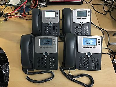 *QTY 4* LINKSYS CISCO SPA504G 4-LINE IP PoE BUSINESS DISPLAY PHONES with BASE