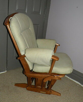 DUTAILIER Wooden Rocking Glider Nursing Station Chair w/ Ottoman Foot Stool