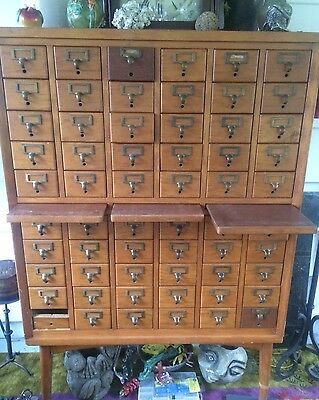 Vintage Wood Library Card File  3 Level Cabinet 60 Drawer 3 Pull Out Worktops