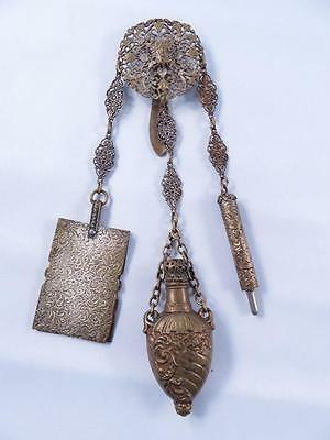 Lacy Victorian Brass Lady Chatelaine Belt Clip With Vinaigrette Pencil Notepad
