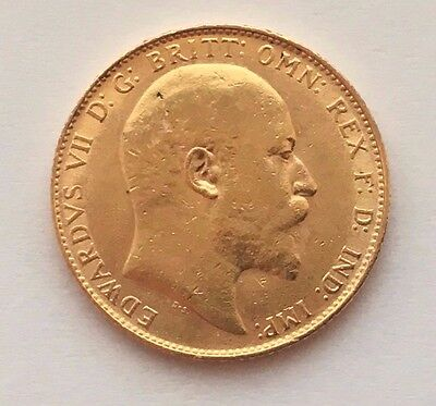1910 Great Britain Gold Sovereign  Edward Vii St. George Coin