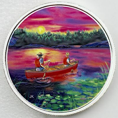 2017 $15 Great Canadian Outdoors: Sunset Canoeing - Pure Silver Glow-in-the-Dark