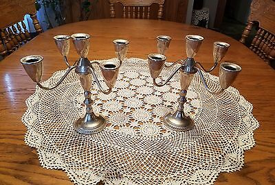 2 Stunning Antique Sterling Silver Duchin Creation 5 Candle Candelabra 9.5T×10W