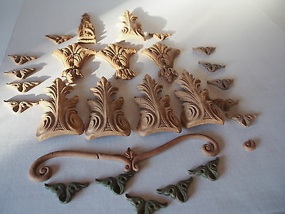 """26 Antique Hand Carved Wood Scroll Architectural Furniture Salvage 5""""~Rosewood ?"""