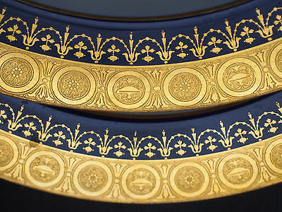 Set 2 Antique Minton Raised Gold Encrusted Urn Swag Cobalt Blue Lunch Plates 10""