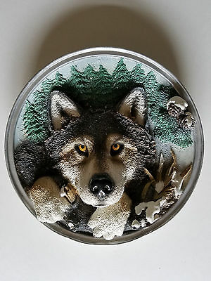 Meico Nature's Wildlife Series Wolf Collectible porcelain 3D plate