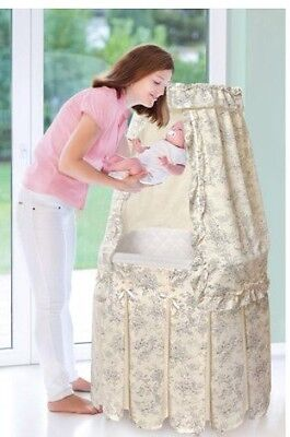 Badger Basket Majesty Baby Bassinet with Canopy, Ecru and Black Toile Bedding