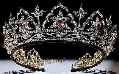 NEW ANTIQUE ROSE CUT DIAMOND 14.40ct SILVER RUBY ANNIVERSARY WEDDING TIARA CROWN