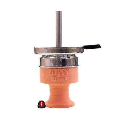 Amy Deluxe Shisha Kaminkopf-Set AM.003, Naturtontopf mit Hot Screen, Tabakkopf