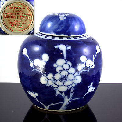 Chinese Qing Labeled Buddhist Cherry Blossom B&w Export Porcelain Tea Caddy Jar