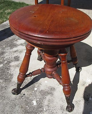 Antique HD Bentley Wood Piano Organ Stool   Glass Claw Feet Swivel Stool