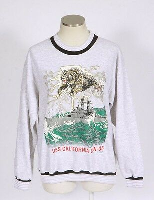 Vtg 90s Grunge Light Gray Stripe Bear US Battleship Graphic Sweat Shirt Top Sz M