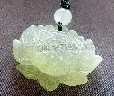 Natural Green Jade Carved Buddhist Auspicious Lotus Amulet Pendant Necklace
