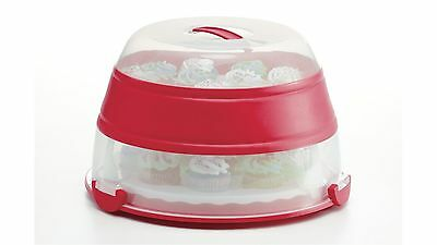 Progressive 2-Tier Cup Cake Carrier - Collapsible and Dishwasher Safe - Red
