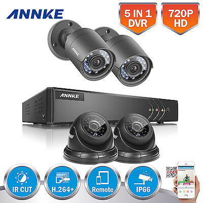 ANNKE 4x 1800TVL Home Security System 4CH 1080P Lite 5in1 DVR Cable Mouse Camera