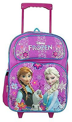 "Frozen Large 16"" Cloth Backpack Book Bag Pack With Wheels - Purple/Flowers"
