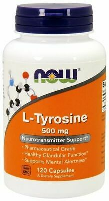 Now Foods L-Tyrosine 500 mg 120 Caps Pharma Grade Mood Alert Thyroid Metabolism