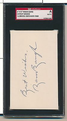 "Sammy Baugh ""best Wishes"" Signed 3X5 Index Card Auto D. 2008 Sgc Auth Sa062"