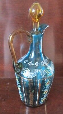 Victorian Blue Enameled Cruet / Decanter W/ Amber Applied Handle  & Stopper