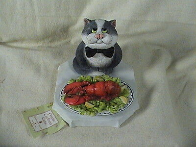 Comic Curious Cats Dinner Is served Cat Eating Lobster Linda Jane Smith
