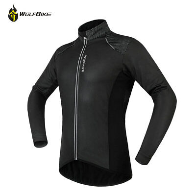 Men Fleece Thermal Winter Jackets Black Cycling Coats PU Leather Windproof