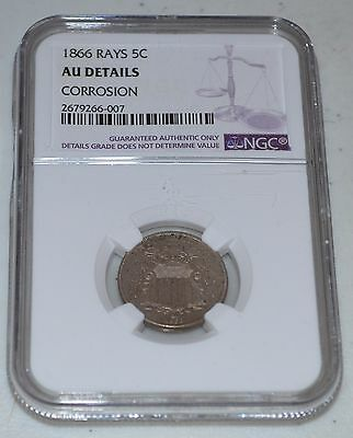 1866 5C Rays Shield Nickel Graded by NGC as AU Details