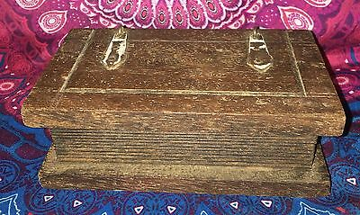 Vintage India Small Carved Wood Timber Trinket Jewellery Box Estate Collectable