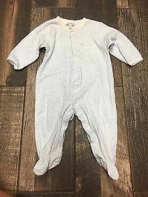Kissy Kissy Blue Check Long Sleeve One Piece Romper Size 6-9 Months