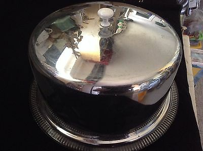 """Vintage Chrome or Stainless Steel Cake Cover Dome 11.5"""" White knob on top"""
