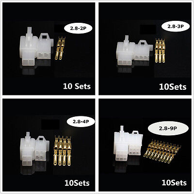 50Set Universal Car Electrical 2.8mm 2 3 4 6 9 Pin Wire Crimp Terminal Connector