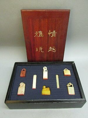 Chinese A Set Of Shou Shan Stone Carved Chop Stamp / Seal & Rosewood Box