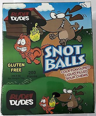 910976 1kg BOX OF SNOT BALLS, COLA FLAVOURED LIQUID FILLED SOUR CHEWS - AUS