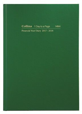Diary Collins A4 2017/2018 Financial Year 1 Day To Page Green #14M4