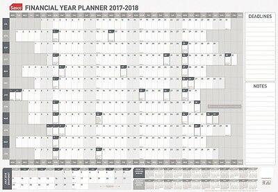 Sasco Wall Planner Financial Year 2017/2018 Grey/White 870 x 610mm