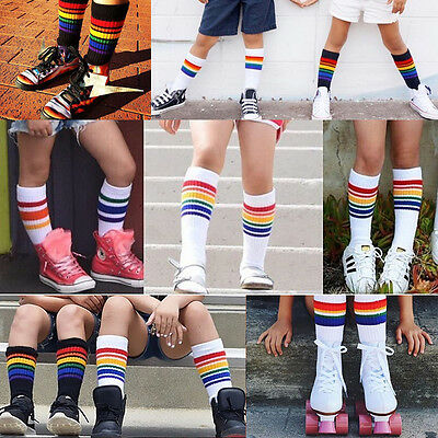 Kids Baby Girls Boy Rainbow Striped Over Knee High Stockings Cotton Soft Socks