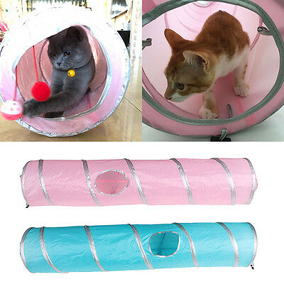 Pet Cat Tunnel Tubes Collapsible Crinkle Kitten Rabbit Play Tunnels Toys 120cm
