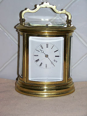 French Antique Oval 8 Day Striking Repeater Carriage Clock