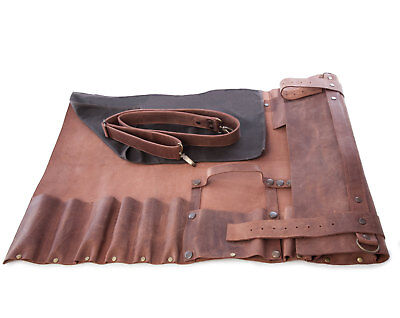 Genuine Leather Chef Knife Bag / Chef Knife Roll 8 Pockets Tan Leather