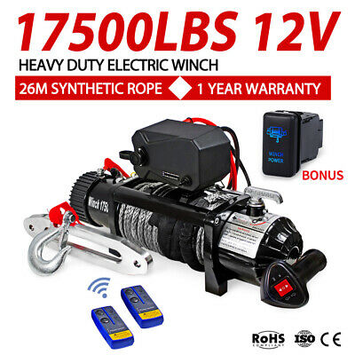 Outranger 17000LBS Electric Winch 26M Synthetic Rope Wireless Remote 4X4 4WD 12V